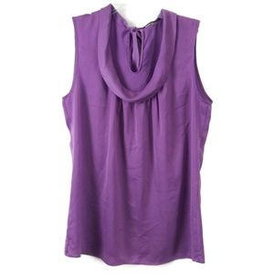 ELIE TAHARI Purple Drape Neckline Sleeveless Top